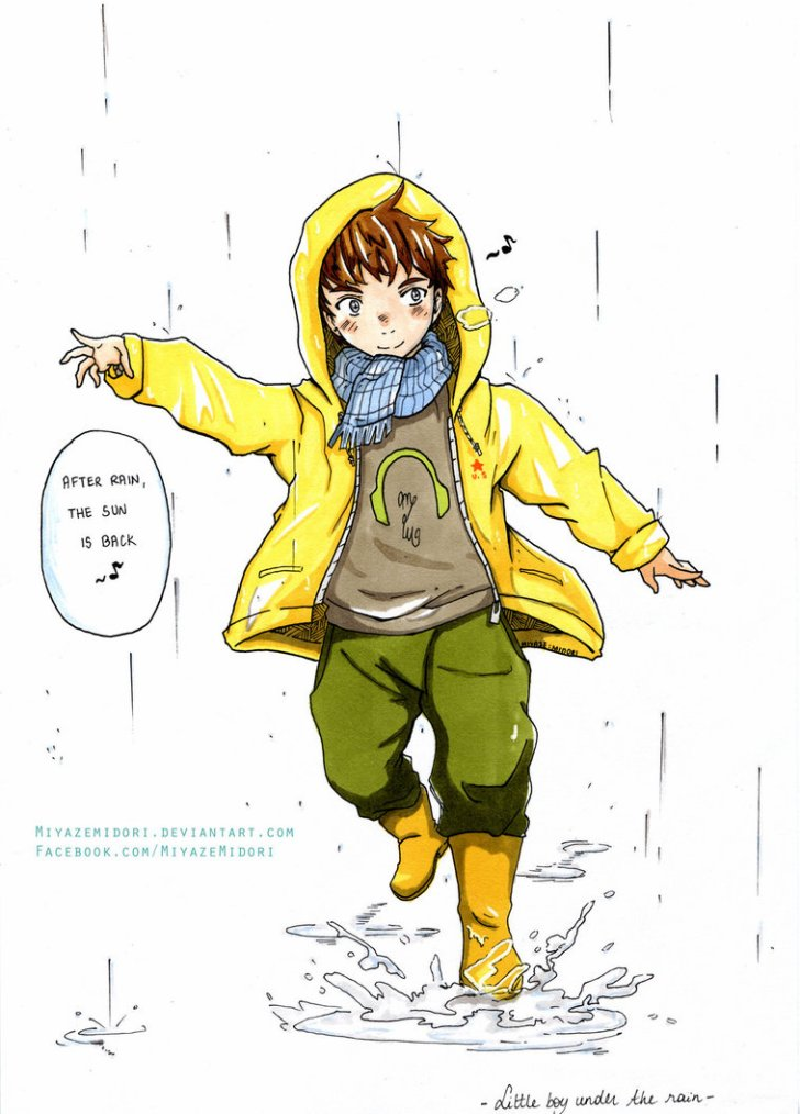 - Little boy under the rain -
