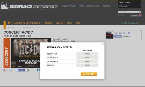 AC/DC au SDF : les prix mis à jour