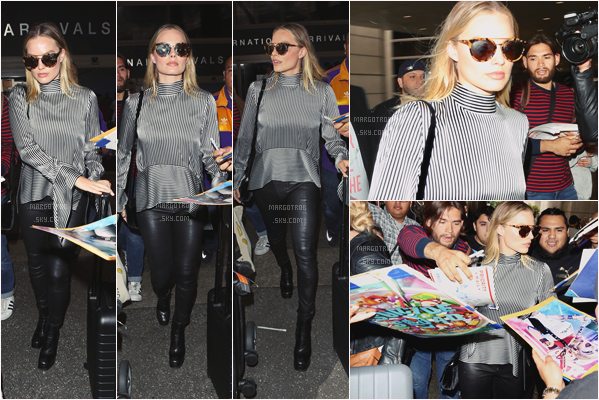 - 01/06/17 : Margot, de retour aux US, a été vue à son arrivée dans l'aéroport de LAX, Los Angeles (CA). Elle a été vue ausi au départ, à Londres. La tenue est sublime j'aime beaucoup, et je suis fan des lunettes de soleil, beau top. -