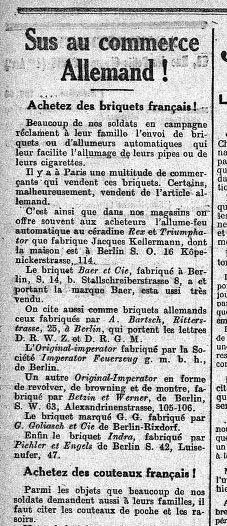 ARTICLE JOURNAL 1914 //ACHETEZ DES BRIQUETS FRANCAIS