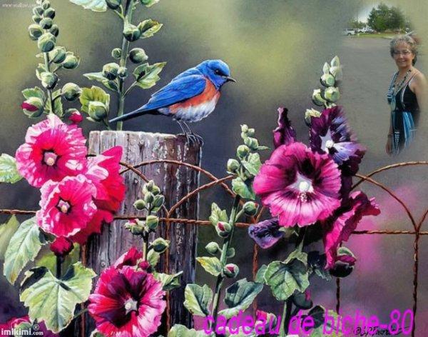"""Joyeuses PAQUES à toi, je te souhaite du fond du coeur de partager ce  jour avec beaucoup d' AMOUR, de TENDRESSE , d'AMITIE, de PAIX, je t'offre  cette lumière que j'ai eu tout à l'heure  à la veillée, que tu puisses quelques soit les circonstances être en JOIE , ce jour et les autres aussi,  je te fais mille bisous remplis d'amitié,  ha oui la """"femme en face du petit oiseau bleu c'est une cloche qui est revenue !!l MDR !!!!   ANGIE"""