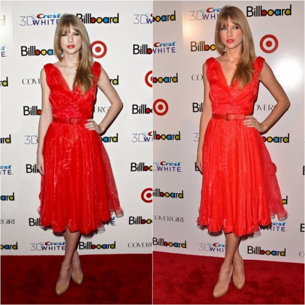 2/12/11: Taylor Swift au Billboard Women in Music Awardsà New York! Elle aime le rouge notre Taylor!!! Ton avis?