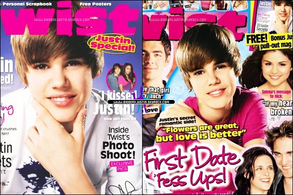 JUSTIN BIEBER en couverture de plusieurs magazines TWIST .