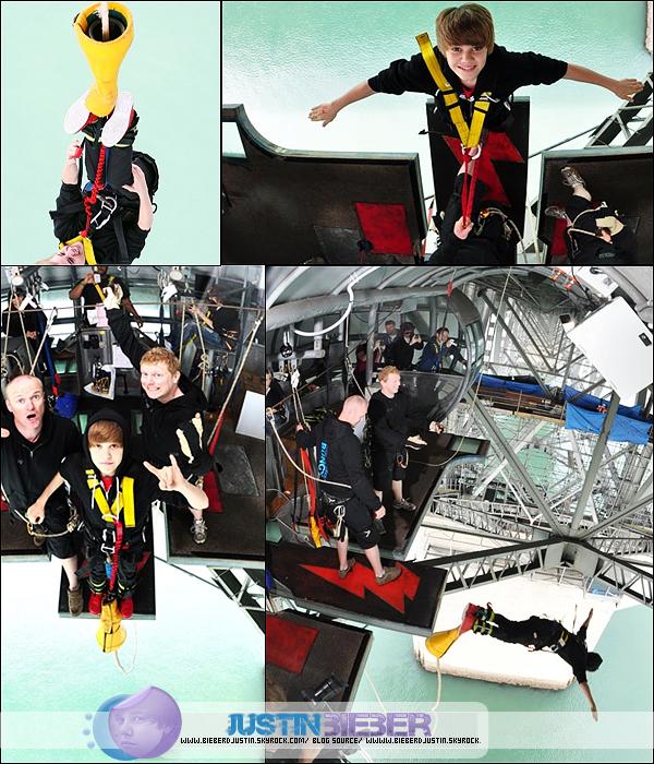 Découvre de plus près les photos de Justin faisant du saut à l'élastique en Nouvelle - Zélande.