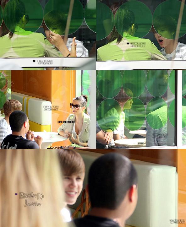// Candids \\ Notre beau Justin a été vu déjeunant avec Kim Kardashian à Pinkberry dans Los Angeles le 11 juillet