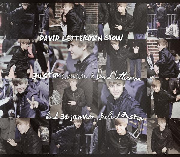 Voici de sublimes photos de Justin arrivant et quittant Le David Letterman Show le 31 janvier dernier.