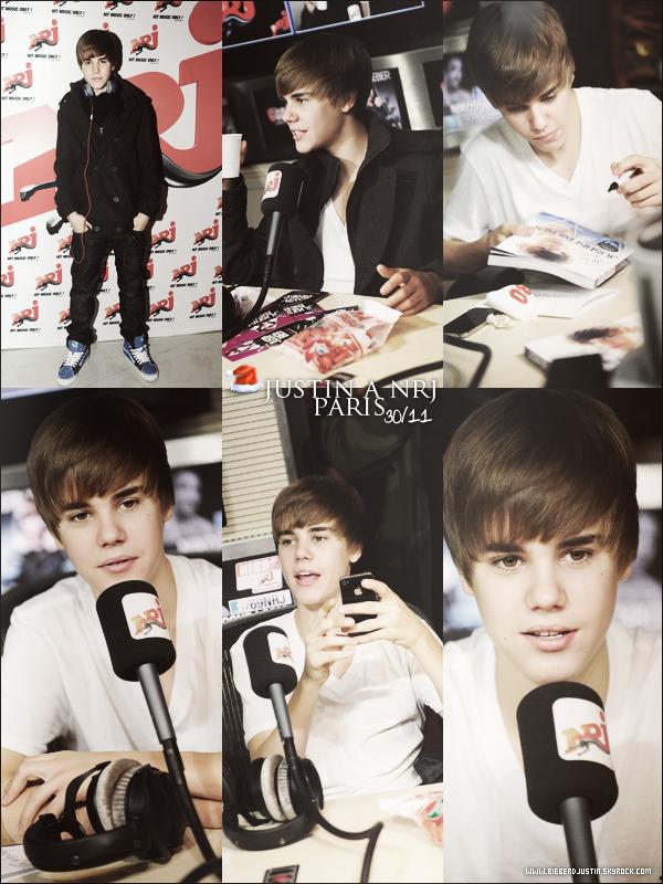 Pour sa venue à Paris, Justin est passé dans les studios de la radio française, NRJ le 30 novembre.