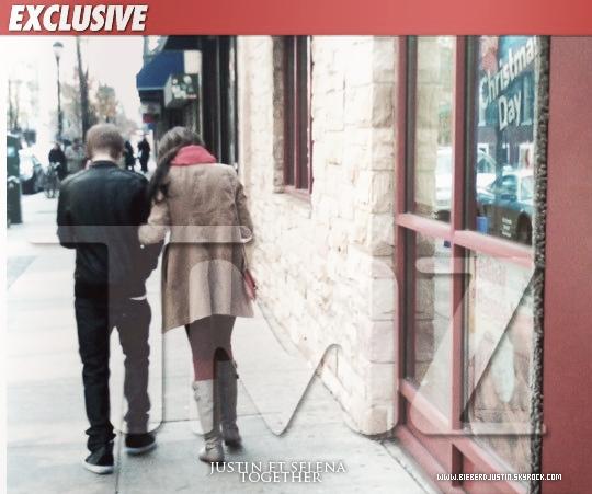 TMZ a photographié Justin et Selena, sortant d'un restaurant après avoir y déjeuné hier à Philadelphie . Selon certaines sources confiés à TMZ, les deux stars se tenaient la main dans le restaurant tout en se regardant « câlinement ».