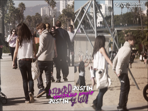 Justin et Selena Gomez se promenant à Santa Monica, hier, le 6 février en Californie.