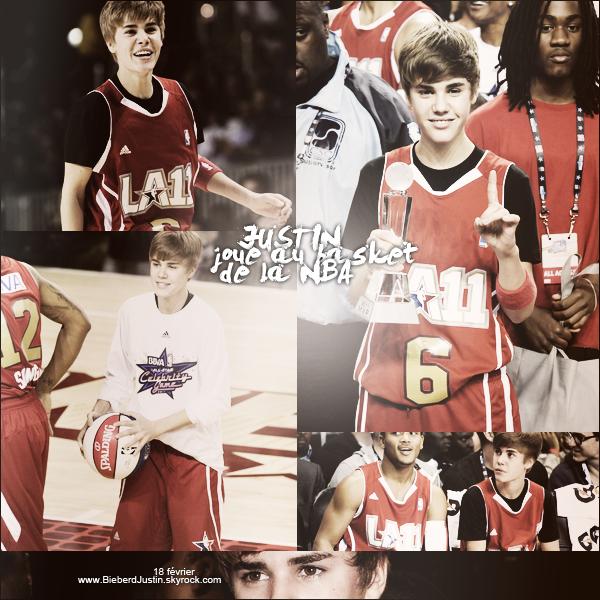 Justin a joué au basketball avec des célébrités organisé par la NBA le 18/02.