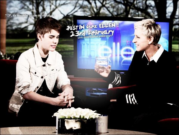 Justin avec sa nouvelle coupe de cheveux, chez Ellen ce 23 février. Tu aimes sa nouvelle coupe de cheveux ?