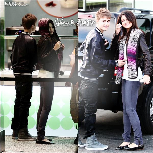 //CANDIDS \\ 1er Mars : Justin & Selena se promènent dans un centre commercial de Los Angeles.
