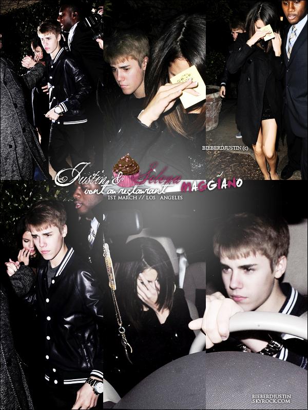 // CANDIDS \\ Justin & Selena le jour de l'anniversaire de Justin ont été vue allant diner au restaurant Maggiano, 1er mars.