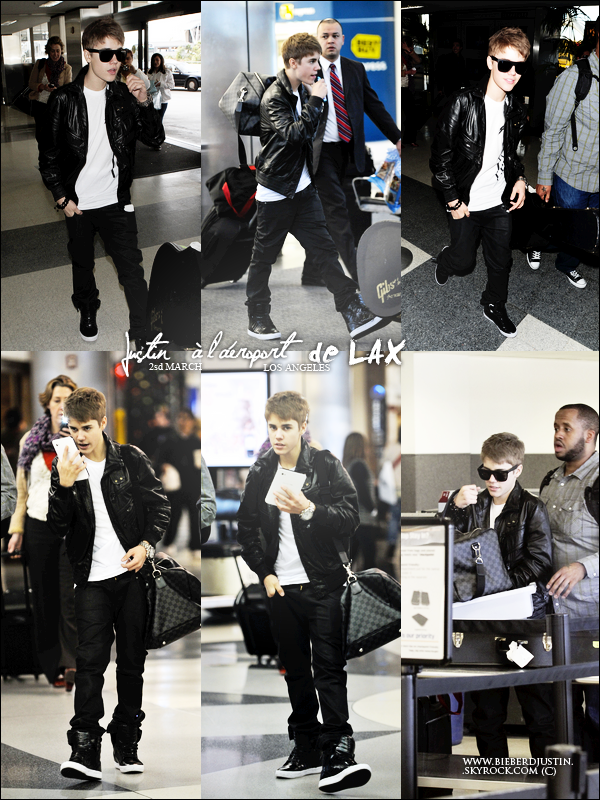 // CANDIDS \\ Justin a été vu à l'aéroport de LAX à Los Angeles, en direction du Royaume - Uni. TOP, j'aime sa tenue.
