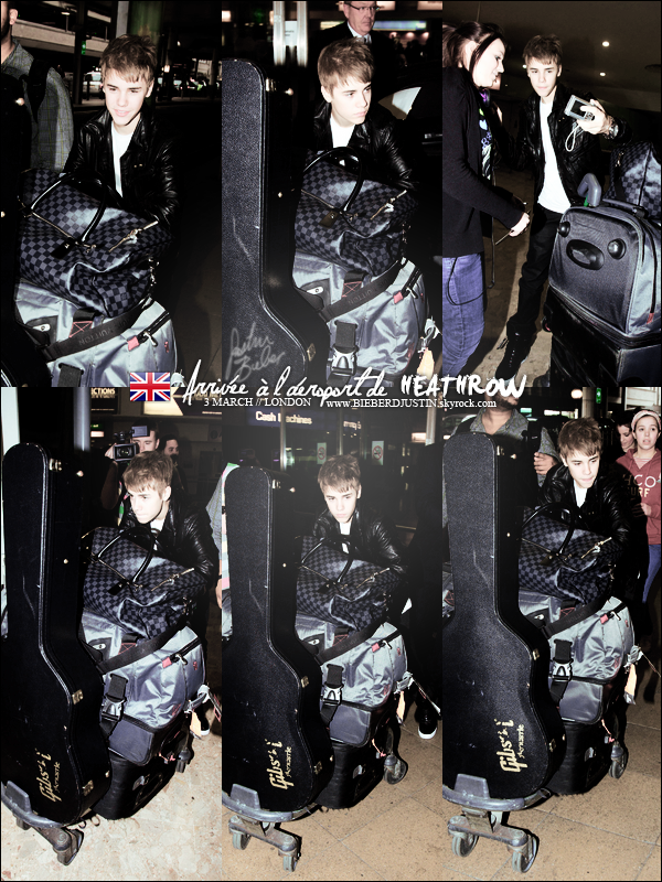 // CANDIDS WELCOME IN ENGLAND ! JB arrivant à l'aéroport de Heathrow à Londres, le 3 mars, gros TOP pour sa tenue //