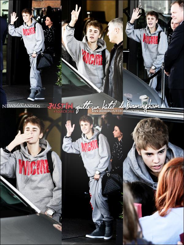 C'est un Justin souriant, qui a été vu quittant son hôtel de Birmingham, en Angleterre & allant faire un tour.