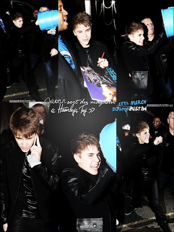 "NEWS CANDIS - Justin sortant du magasin "" Hamleys Toy "" le 15 mars & le 14 mars rentrant dans son hôtel. TOP, FLOP ?"