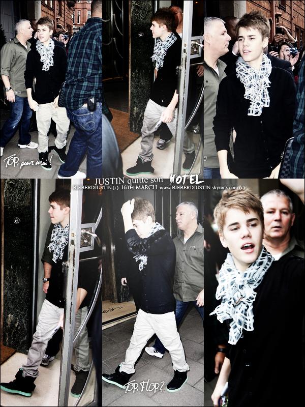 """// NEWS CANDIDS ! le 16 quittant son hôtel & le 17 mars Justin se cachant quittant l'hôtel """"Claridges"""", TOP, BOF, FLOP ? \\"""