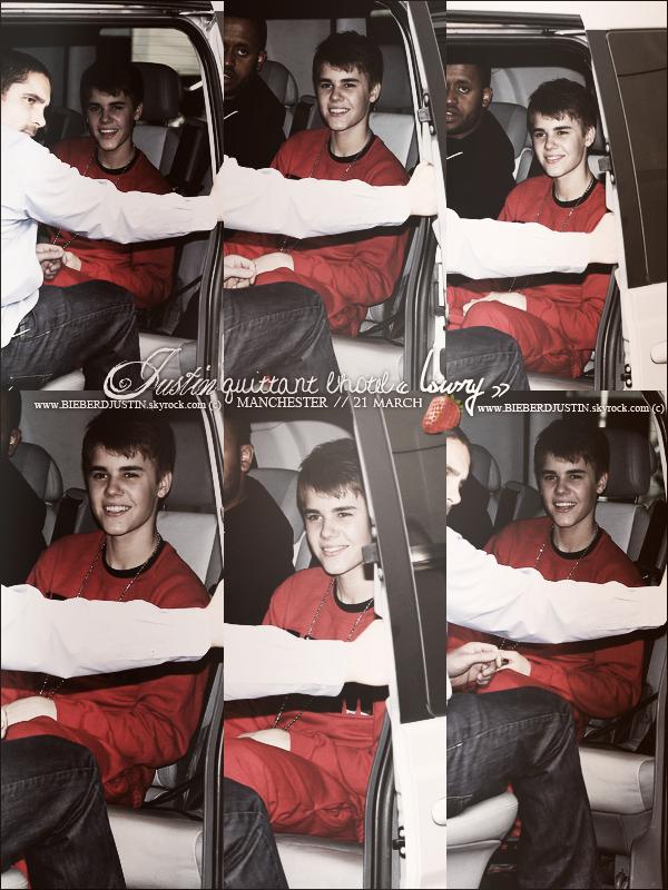 """// CANDIDS Justin quittant l'hôtel """"Lowry"""" à Manchester, le 21 mars dernier.  Justin habillé en rouge, TOP ou FLOP ? \\"""