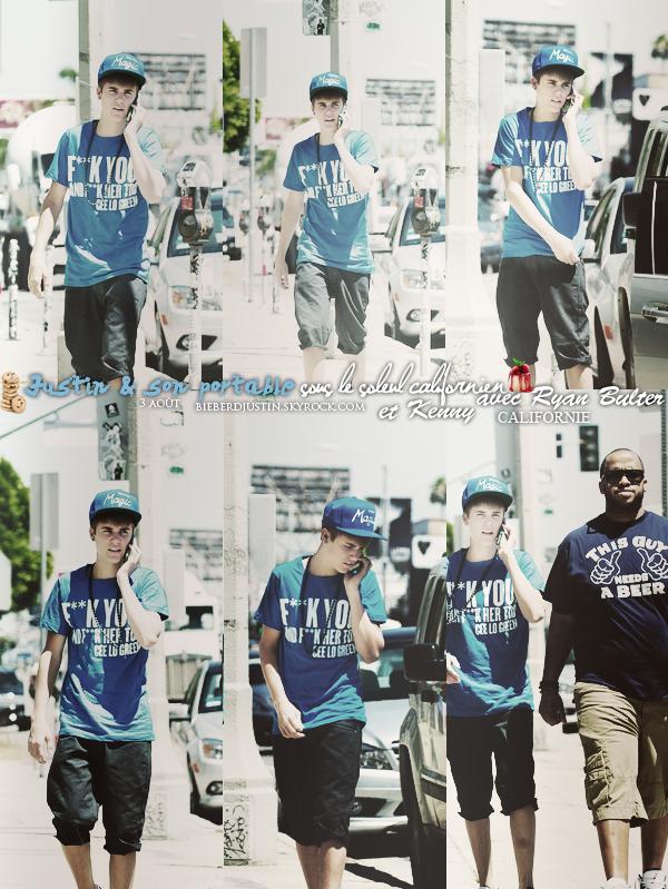 JB et son téléphone ont été photographié sous le beau soleil de la Californie en compagnie de Ryan Bulter & Kenny le 3 août