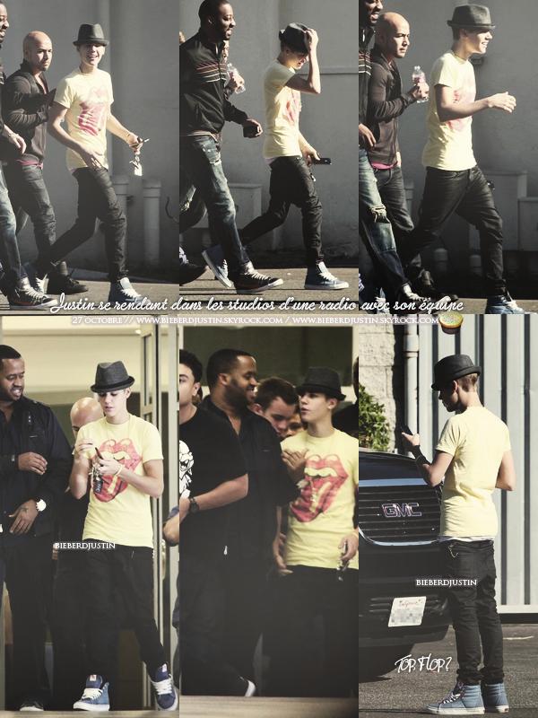 JB photographié se rendant dans les studios de la radio Power 106 et Jack FM, le 27 octobre, en Californie. TOP ou FLOP ?