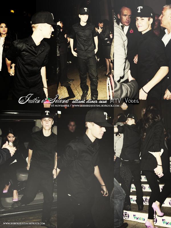 Justin, et sa petite amie, Selena Gomez ont été photographiés arrivant au dîner MTV Voices à Belfast, le 5 novembre.