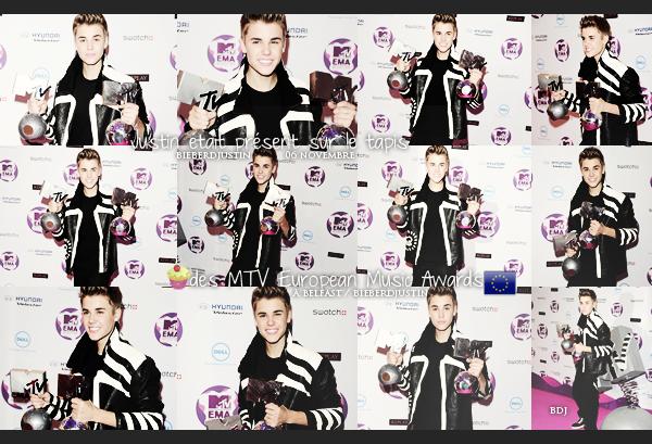 """Justin plus beau que jamais, a été photographié sur le tapis """"rose"""" des MTV European Music Awards, à Belfast, le 06/11."""