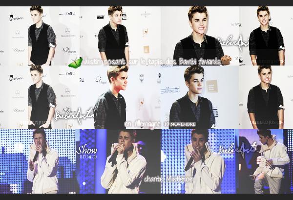Justin Bieber était présent hier 10 novembre, à la cérémonie des Bambi Awards 2011 qui ont eu lieu en Allemagne.