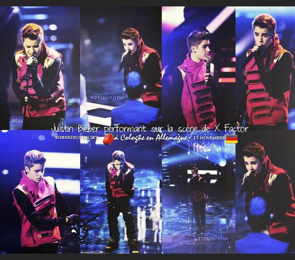 """JB était présent à l'émission X Factor où il a performé sur sa chanson """"Mistletoe"""", à Cologne en Allemagne, le 15 novembre."""