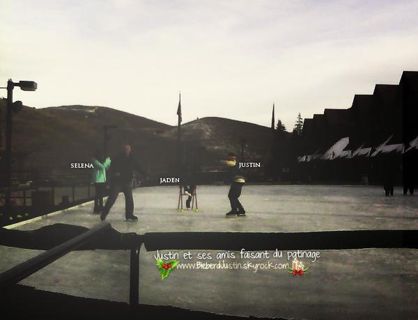 Découvrez ci- dessous une photo où l'on peut aperçevoir Justin, Selena G. et Jaden S. faisant du patinage.