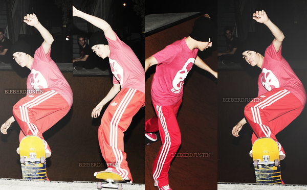 - PUBLICITÉ POUR PROACTIF + candids de Justin faisant du skate à Miami, 3 février