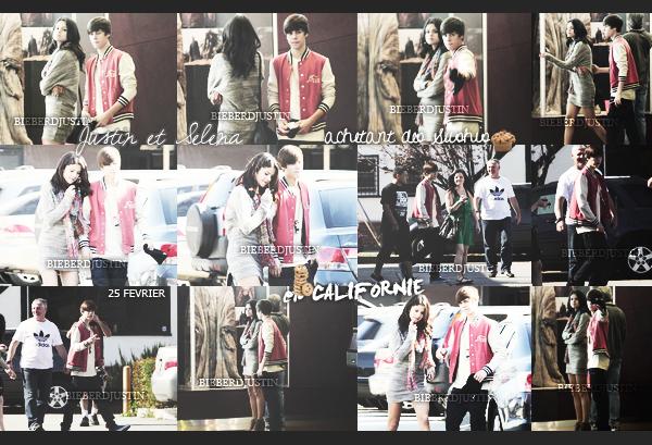 ▬ Samedi 25 Février    Justin et Selena ont été vu allant acheter des sushis puis allant au cinéma en Californie. BOF ! Côté tenue, je lui accorde un bof car je n'aime pas trop sa veste. Il semblerait que le hairflip soit de retour. Top ou flop ?