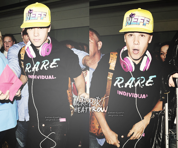 Justin photographié le 23 avril alors qu'il arrivait à l'aéroport de Heathrow à Londres. Top ou Flop ?