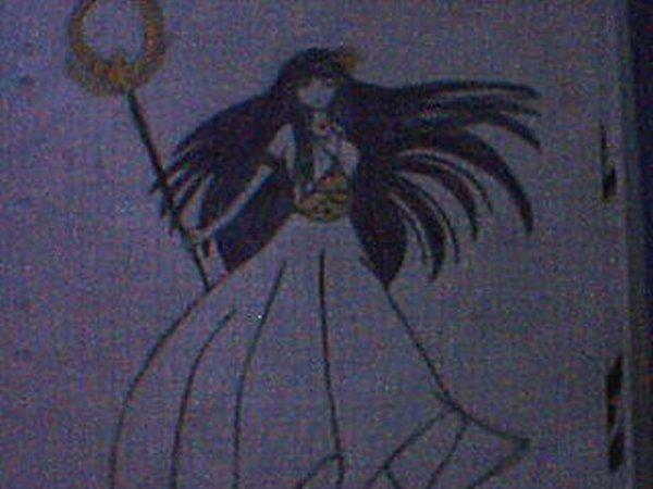 Mon dessin d'Athéna (Saori Kido) dans Saint Seiya