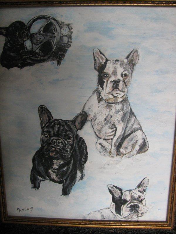 un de mes derniers tableaux les chiens