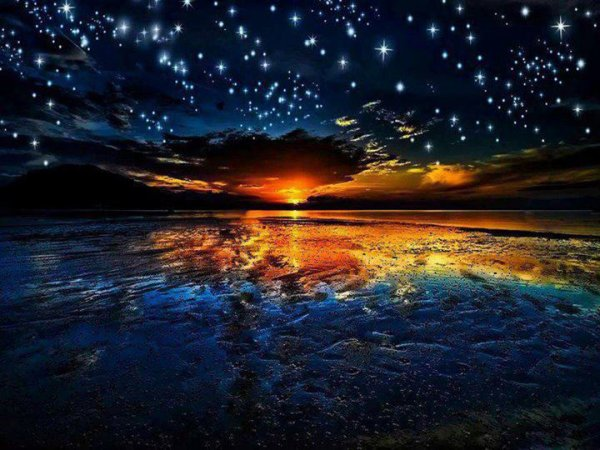 Quand tu regarderas le ciel, la nuit, puisque j'habiterai dans l'une d'elles, puisque je rirai dans l'une d'elles, alors ce sera pour toi comme si riaient toutes les étoiles Tu auras, toi, des étoiles qui savent rire .....  Antoine de St Exupéry