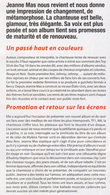 NEWS PRESSE : Article FRANCE STARS