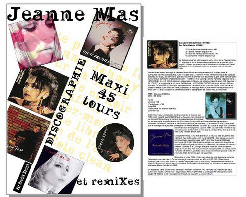 NEWS PRESSE  : TOUT sur la discographie MAXI 45T et REMIXES de JEANNE MAS !