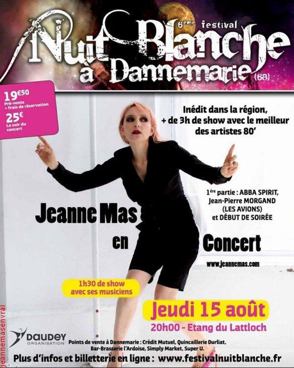 La tournée se poursuit... - JEANNE MAS  et ses musiciens sont à DANNEMARIE ce jeudi 15/08/2013