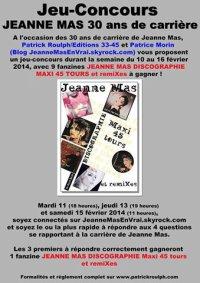 FEVRIER 1984 - FEVRIER 2014 :  JEANNE MAS  - 30 ans de carrière ! - LE JEU-CONCOURS (2ème partie)