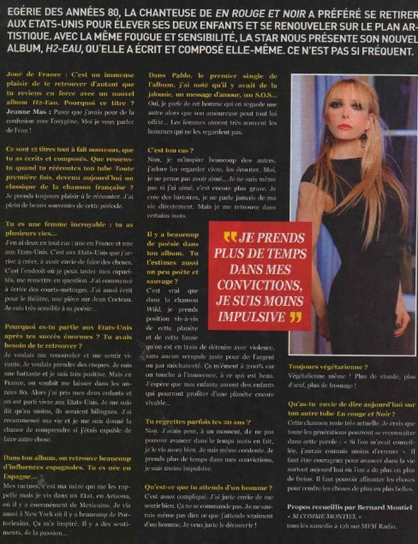 NEWS PRESSE - INTERVIEW de JEANNE MAS - JOURS DE FRANCE (N° 15834 - 03/07/2014)