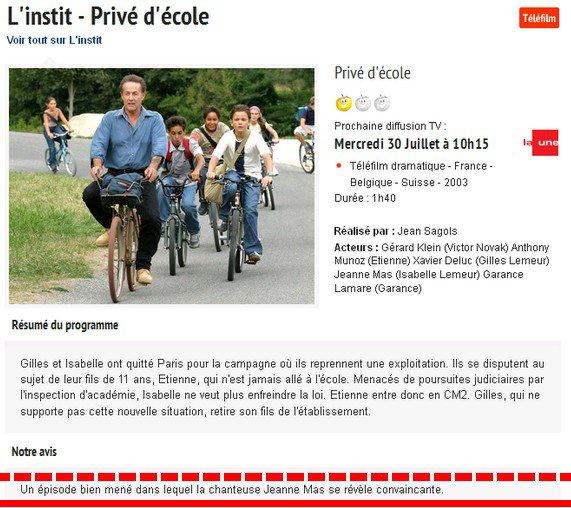 """Alors que """"LA UNE"""" (TV belge) rediffuse l'épisode -[/align center]Découvrez ou re-découvrez l'épisode intégral de """"L'INSTIT"""" - dans lequel JEANNE a tourné !"""
