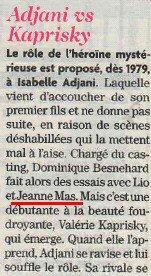 """News Presse : Le saviez - vous ? - JEANNE aurait pu tenir le rôle principal du film """" L'ETE MEURTRIER """""""