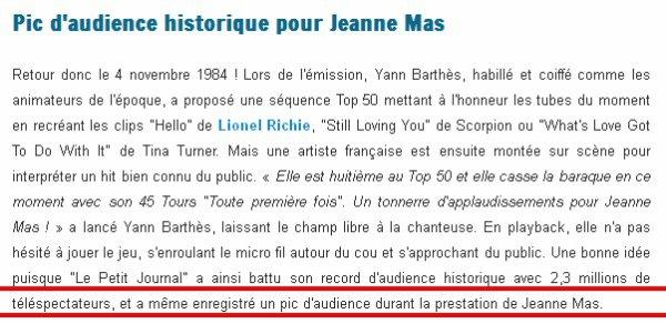 """JEANNE MAS était bien  dans """"Le Petit Journal """" de Canal + ce mardi 05/11 !"""