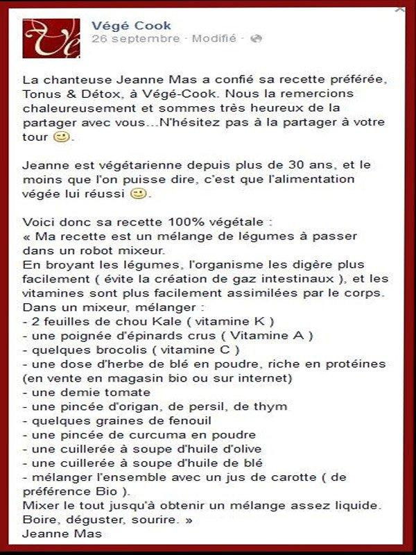 Vu sur Facebook - Pour les amateurs... - JEANNE nous présente sa recette préférée 100% végétale !