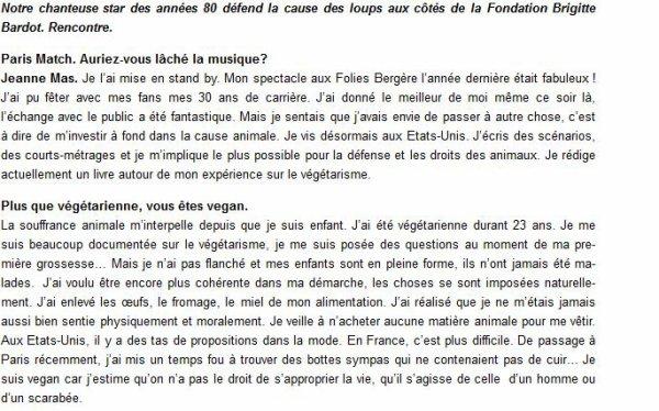 """News web : JEANNE MAS dans """"PARIS MATCH"""" """"Arretons de crier au loup """" (Interview + vidéo)"""