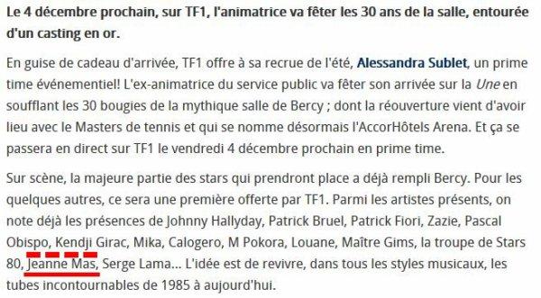 NEWS TV : JEANNE confirme  sa participation  à l'émission du  04 décembre sur TF1 pour fêter les 30 ans de BERCY