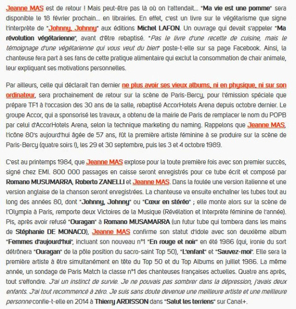 """L EVENEMENT -  JEANNE MAS - Le livre """"Ma vie est une pomme""""  (Ed. Michel Lafon) -  Sortie le 18 février 2016 !"""