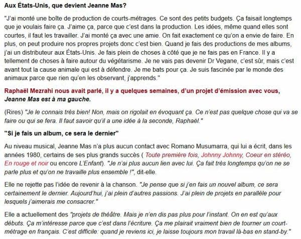 """NEWS WEB : Interview de JEANNE sur le site belge """"DH.be"""""""