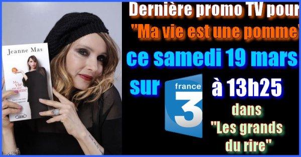 """NEWS TV - JEANNE était l'invitée d'Yves Lecocq ce samedi 19 mars dans """"Les grands du rire"""" (France 3)"""